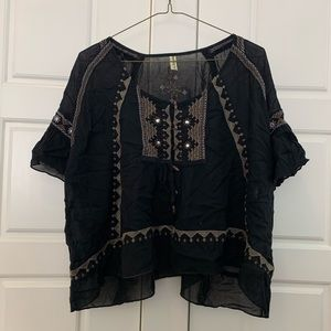 Free People Black Embroidered Short Sleeve Top